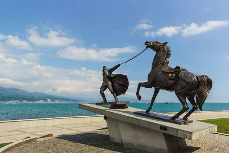 evacuacion: NOVOROSSIYSK, RUSSIA - MAY 08.2016: the Monument Exodus, dedicated to the evacuation of the White army and civilian refugees in March 1920, on the waterfront of the city of Novorossiysk