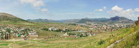 sudak: Panorama of Sudak and Genoese medieval fortress. Crimea, Russia