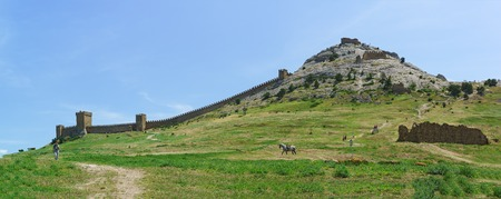 sudak: The southern wall of the medieval Genoese fortress in Sudak. Crimea, Russia