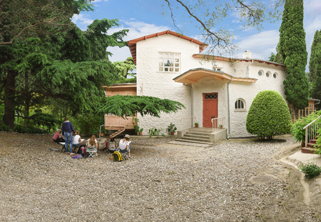 Art school Students draw from life House-Museum of Anton Chekhov in Yalta (White cottage)