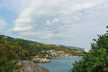 alupka: Black sea Coast on the South of the Park Vorontsov Palace. Alupka, Crimea, Russia