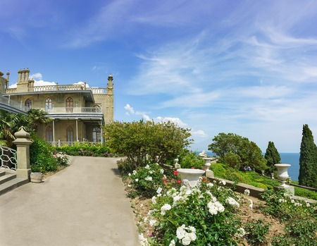alupka: Roses on the terraces on the South side of the Vorontsov Palace. Yalta, Alupka, Crimea, Russia Editorial
