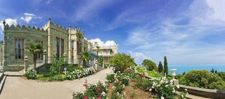 alupka: flower Beds with roses on the southern terraces of the Vorontsov Palace. Yalta, Alupka, Crimea, Russia