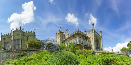 Southern terraces of the Vorontsov Palace. Yalta, Alupka, Crimea, Russia