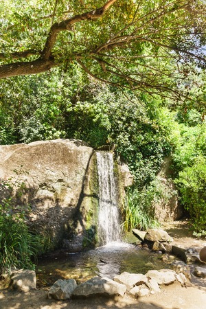 a Small waterfall in a landscaped Park of the Vorontsov Palace. Yalta, Alupka, Crimea, Russia