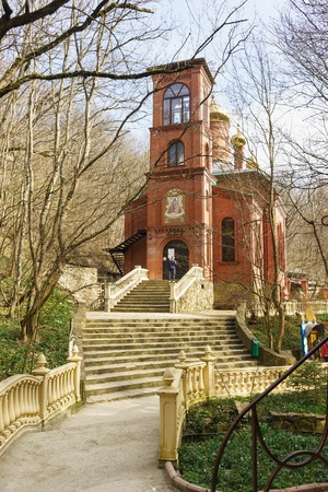 The MOUNTAIN VILLAGE, NOVOROSSIYSK, RUSSIA - March 08.2016: the new Church of Mother of God life-giving spring in the desert Theodosius Caucasian