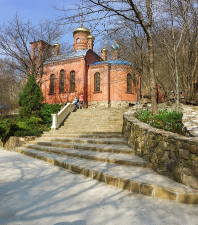 The MOUNTAIN VILLAGE, NOVOROSSIYSK, RUSSIA - March 08.2016: stairs to the Church of Mother of God life-giving spring in the desert Theodosius Caucasian