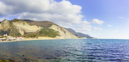 western slope: Rocky shore of the black sea. Russia, Krasnodar Krai, village of Big Utrish Stock Photo