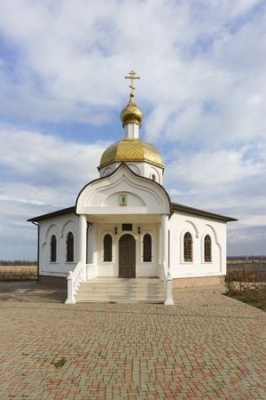 the righteous: STANITSA TAMAN, TEMRYUK DISTRICT, KRASNODAR KRAI, RUSSIA - January 04.2017: the entrance to the Church-chapel of the Holy righteous Theodore Ushakov Sunny winter day