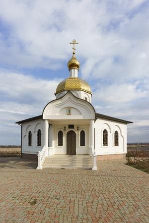 STANITSA TAMAN, TEMRYUK DISTRICT, KRASNODAR KRAI, RUSSIA - January 04.2017: the entrance to the Church-chapel of the Holy righteous Theodore Ushakov Sunny winter day