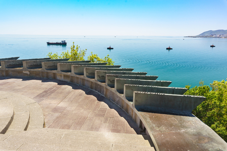 Novorossiysk, Russia - April 29.2017: Monument to the Sailors of the revolution with a bronze hulls of military ships and indicating the distance to the point of flooding each on the parapet of the observation deck on the Tsemes Bay of the Black sea Editorial