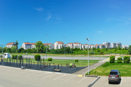 Russia, Sochi - June 05.2017: outdoor Sports fitness equipment and facilities, a residential district. The urban landscape