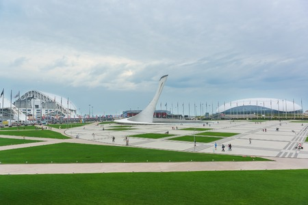 Russia, Sochi - June 10.2017: Olympic Park post-Olympic legacy in the coastal cluster Imereti lowland of Sochi. Cloudy summer evening
