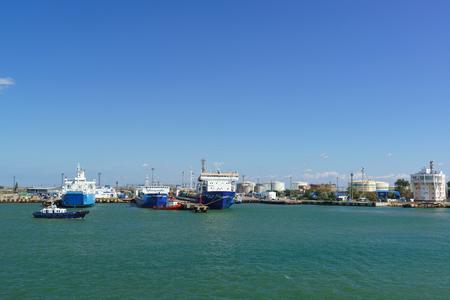 Russia, the Kerch Strait - September 02.2017: the Ferries Krym, Annenkov and vanguard are for loading in the port of Kavkaz on the spit Chushka, Temryuk district, Krasnodar Krai, Russia Redakční