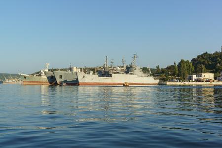 soviet flag: Russia, Crimea, Sevastopol - September 03.2017: Auxiliary vessels of the black sea fleet in the Quarantine Bay of Sevastopol Editorial