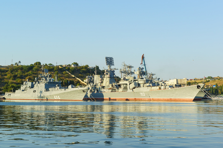 Russia, Crimea, Sevastopol - September 03.2017: the Patrol ship Admiral Grigorovich (494) and Large anti-submarine ship Kerch (753) of the 30th division of surface ships of the black sea fleet