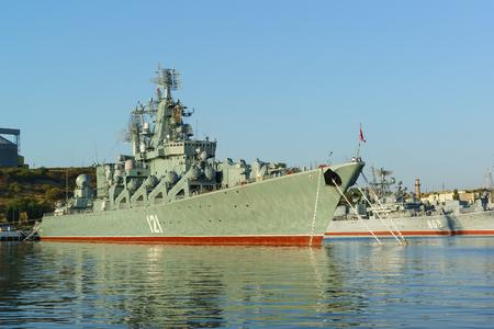 battleship: Russia, Crimea, Sevastopol - September 03.2017: the order of Nakhimov missile cruiser Moskva (former Slava) of the 30th division of surface ships of the black sea fleet of the Russian Federation
