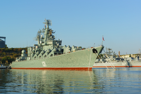 Russia, Crimea, Sevastopol - September 03.2017: the order of Nakhimov missile cruiser Moskva (former Slava) of the 30th division of surface ships of the black sea fleet of the Russian Federation