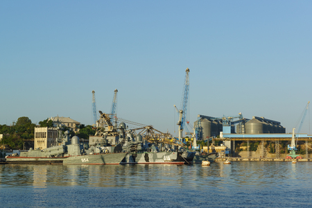 hovercraft: Russia, Crimea, Sevastopol - September 03.2017: Missile boat R-334 (ivanovec) (no. 954) and Missile hovercraft Samum (no. 616) 41-th brigade of missile boats black sea fleet in Quarantine Bay Editorial
