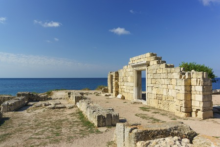 Ruins of ancient Greek Basilica of the VI-X centuries on the shores of the Black sea, Chersonese Tavricheskiy