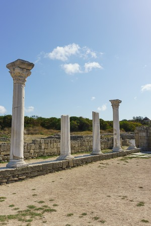 Marble columns of ancient Greek Basilica of the VI-X centuries in Chersonesus Tavrichesky