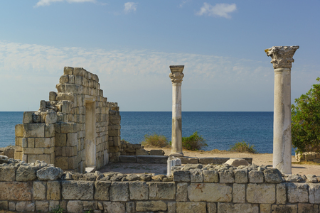 Marble columns of ancient Greek Basilica of the VI-X centuries on the shores of the Black sea, Chersonese Tavricheskiy
