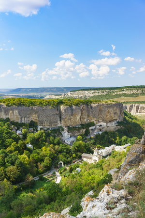 Landscape view from above on the natural boundary of Mariam-Dere (Canyon of Maria), Holy assumption Orthodox cave monastery in the Crimean mountains near Bakhchisarai Stock Photo