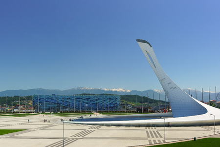 Russia, Sochi, Krasnodar region-June 05.2017: Panoramic view of the Olympic Park square on a warm summer day