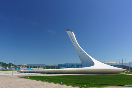 Russia, Sochi, Krasnodar region-June 05.2017: sculpture Bowl of Olympic flame in Olympic Park on a Sunny summer day