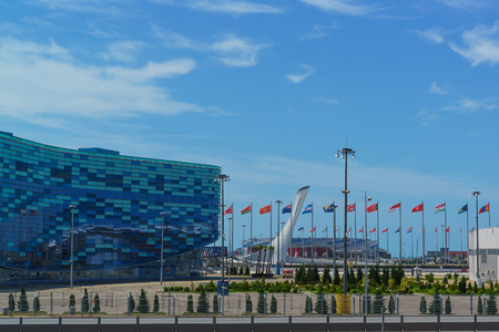 Russia, Sochi, Krasnodar region-June 12.2017: square in the Olympic Park with festive flags of different countries. Adler, summer Redakční