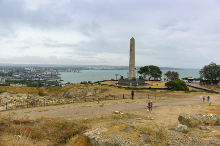 Kerch, Crimea, Russia-September 07, 2018: Tourists on mount mithridat near the obelisk of Glory to Immortal Heroes, dedicated to all the soldiers who fell in the battles for the liberation of Crimea Editorial
