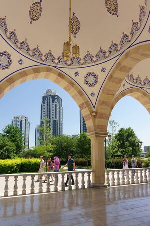 Grozny, Chechen Republic, Russia - June 02, 2019: View from the summer gallery of the new beautiful mosque the Heart of Chechnya named after Akhmat Kadyrov on the high-rise complex Grozny city