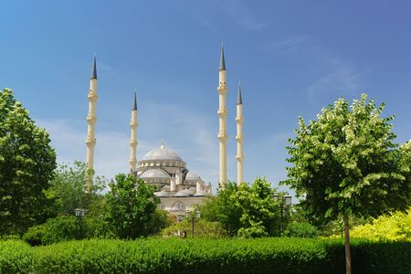Domes and minarets of the mosque Heart of Chechnya in the center of the capital of the Republic. Sunny summer day