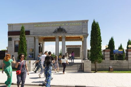 Nazran, Ingushetia, Russia - June 02, 2019: Tourists memorial of memory and glory - a large complex dedicated to the most important dates, tragic and solemn events in the history of the Republic