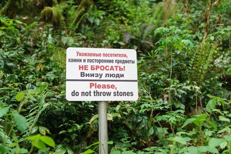A sign near the cliff, forbidding throwing down stones and other objects in the yew-Box grove. The inscription in Russian Stones and foreign objects down do not throw! People downstairs