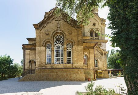 Facade of the stone Church of the Greek community of St. Elijah, built in 1911-1918 by the city architect A. L. Heinrich