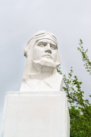 Fadeevo, Krasnodar region, Russia-may 06, 2019: Bust of Hero of the Soviet Union fighter pilot Vadim Ivanovich Fadeev. Guard captain, squadron commander, who died on may 05, 1943 Sajtókép