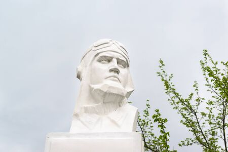 Fadeevo, Krasnodar region, Russia-may 06, 2019: Bust of Hero of the Soviet Union fighter pilot Vadim Ivanovich Fadeeva against a cloudy sky. Guard captain, squadron commander, who died on may 05, 1943 Sajtókép