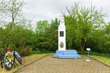 Fadeevo, Krasnodar region, Russia-may 06, 2019: Monument to the Hero of the Soviet Union fighter pilot Vadim Ivanovich Fadeev by the road in the village named after the squadron commander