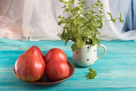 Large ripe country pink tomatoes on a blue wooden table. In the mug - a bunch of Melissa
