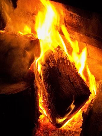 Burning wood in flames photo
