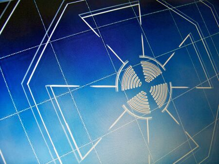 sequences: Blue cross of an architectural proyect on screen