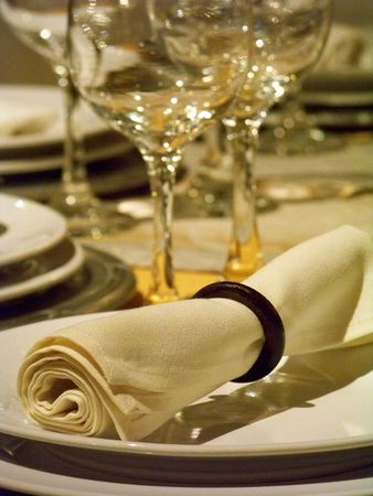 Tablecloth, crockery and glassware wedding dinner photo
