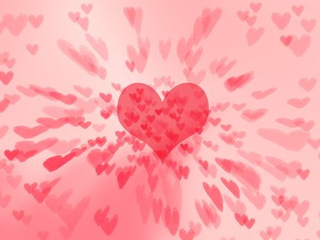 Big red heart spreading little hearts background Stock Photo