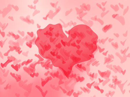 Trembling red hearts on pink background Stock Photo - 6095872