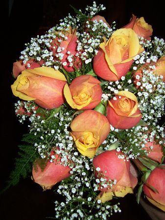 Bridal bouquet of orange roses photo