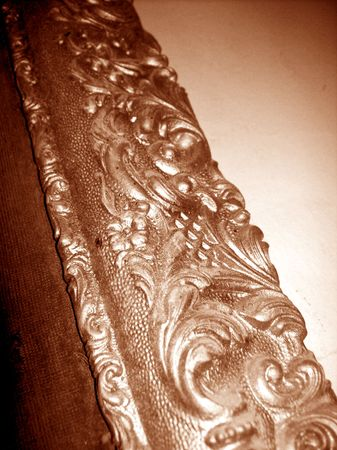 metalized: Antique gold wood frame close up in sepia for a painting Stock Photo