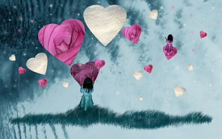 Child dreaming to fly with heart balloons