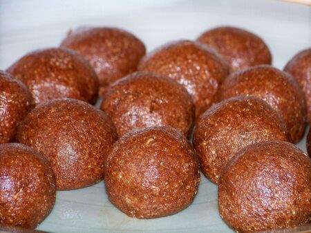 Truffles, sweet chocolate balls photo