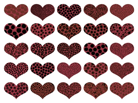 naif: Dark chocolates with animal textures in hearts background Stock Photo